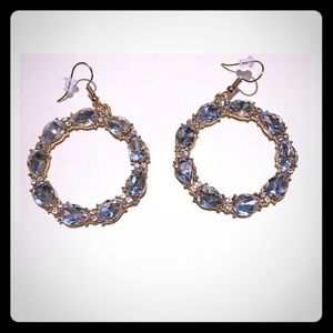 "3/$24 1 3/4"" Gold Round Clear Rhinestone Earrings"